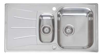 Мойка кухонная ReginoxМойки кухонные<br>Тип установки кухонной мойки: врезной,<br>Материал изготовления кухонной мойки: нержавеющая сталь,<br>Отверстие под смеситель: нет,<br>Форма кухонной мойки: прямоугольная,<br>Количество чаш кухонной мойки: две чаши,<br>Длина (мм): 360,<br>Ширина: 420,<br>Глубина: 160/130,<br>Цвет: хром,<br>Наличие крыла: есть,<br>Расположение крыла: слева/справа,<br>Страна происхождения: Нидерланды,<br>Диаметр сливного отверстия: 3 1/2,<br>Вес нетто: 51<br>
