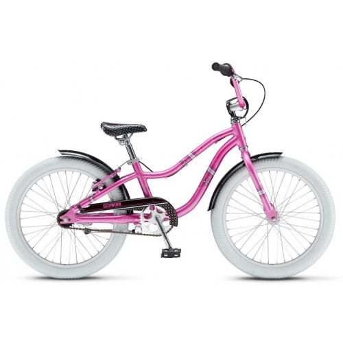 Детский велосипед SchwinnДетские велосипеды<br>Тип: велосипед, Диаметр колес: 20, Количество колес: 2, Педали: есть, Для девочек: есть, Цвет: розовый, Материал рамы: алюминий, Возраст ребенка: от 7-ми лет, Комплектация: крылья, подножка<br>