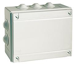 Коробка распаячная RuvinilКоробки монтажные<br>Тип монтажного элемента: коробка распаячная,<br>Тип установки коробки: скрытый монтаж,<br>Длина (мм): 200,<br>Ширина: 140,<br>Высота: 75,<br>Цвет: серый,<br>Степень защиты от пыли и влаги: IP 55<br>