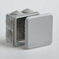 Коробка распаячная RuvinilКоробки монтажные<br>Тип монтажного элемента: коробка распаячная,<br>Тип установки коробки: скрытый монтаж,<br>Длина (мм): 70,<br>Ширина: 70,<br>Высота: 40,<br>Цвет: серый,<br>Степень защиты от пыли и влаги: IP 55<br>