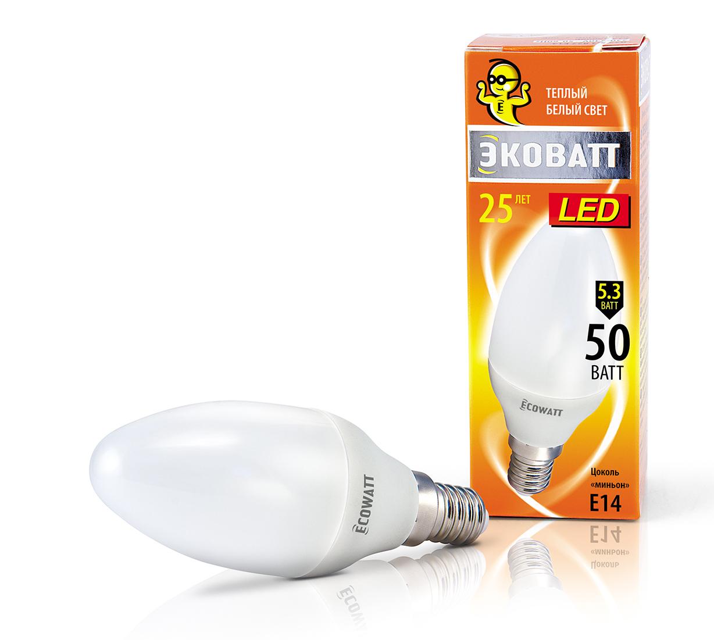 Лампа светодиодная EcowattЛампы<br>Тип лампы: светодиодная,<br>Форма лампы: свеча,<br>Цвет колбы: белая,<br>Тип цоколя: Е14,<br>Напряжение: 220,<br>Мощность: 5.3,<br>Цветовая температура: 2700,<br>Цвет свечения: теплый<br>