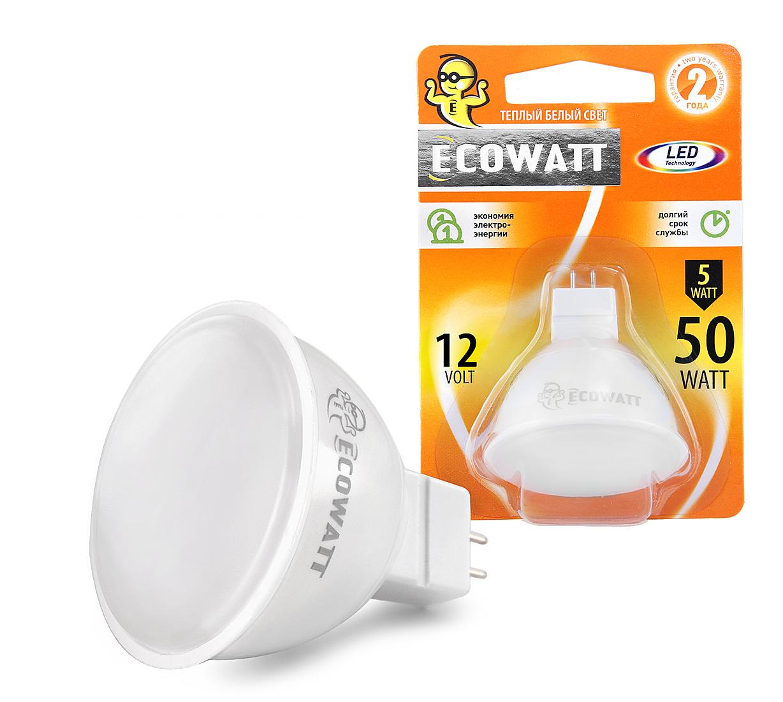 Лампа светодиодная EcowattЛампы<br>Тип лампы: светодиодная,<br>Форма лампы: рефлекторная,<br>Цвет колбы: белая,<br>Тип цоколя: GU5.3,<br>Напряжение: 220,<br>Мощность: 5,<br>Цветовая температура: 3000,<br>Цвет свечения: нейтральный,<br>Вес нетто: 0.1<br>