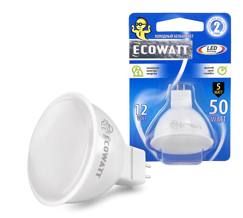 Лампа светодиодная EcowattЛампы<br>Тип лампы: светодиодная,<br>Форма лампы: рефлекторная,<br>Цвет колбы: белая,<br>Тип цоколя: GU5.3,<br>Напряжение: 220,<br>Мощность: 5,<br>Цветовая температура: 4200,<br>Цвет свечения: нейтральный,<br>Вес нетто: 0.1<br>