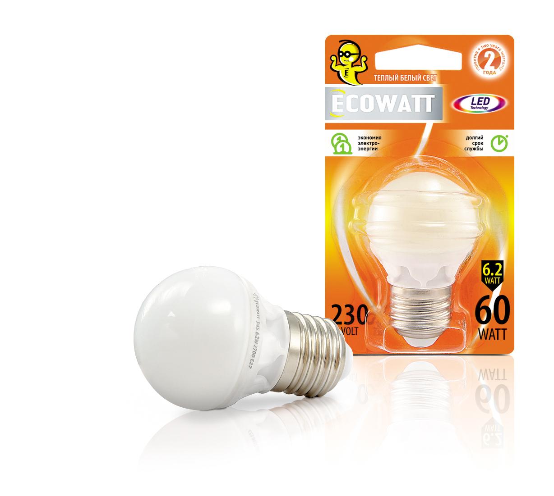 Лампа светодиодная EcowattЛампы<br>Тип лампы: светодиодная, Форма лампы: шар, Цвет колбы: белая, Тип цоколя: Е27, Напряжение: 220, Мощность: 6.2, Цветовая температура: 2700, Цвет свечения: теплый<br>