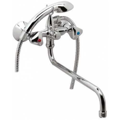 Смеситель для ванны VidimaСмесители<br>Назначение смесителя: для ванны и душа,<br>Тип управления смесителя: вентильный,<br>Цвет покрытия: хром,<br>Стиль смесителя: модерн,<br>Монтаж смесителя: горизонтальный,<br>Тип установки смесителя: на мойку (раковину),<br>Материал смесителя: латунь,<br>Излив: традиционный,<br>Поворотный излив: есть,<br>Аэратор: есть,<br>Лейка: есть,<br>Родина бренда: Болгария,<br>Вес нетто: 1.8<br>