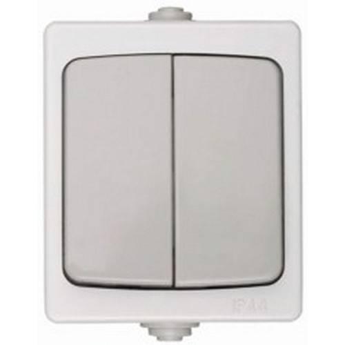 Выключатель СВЕТОЗАРЭлектроустановочные изделия<br>Тип изделия: выключатель,<br>Способ монтажа: открытой установки,<br>Цвет: серый,<br>Сила тока: 10,<br>Степень защиты от пыли и влаги: IP 44,<br>Количество клавиш: 2,<br>Выходная мощность максимально: 2200,<br>Напряжение: 220,<br>Коллекция: аврора<br>