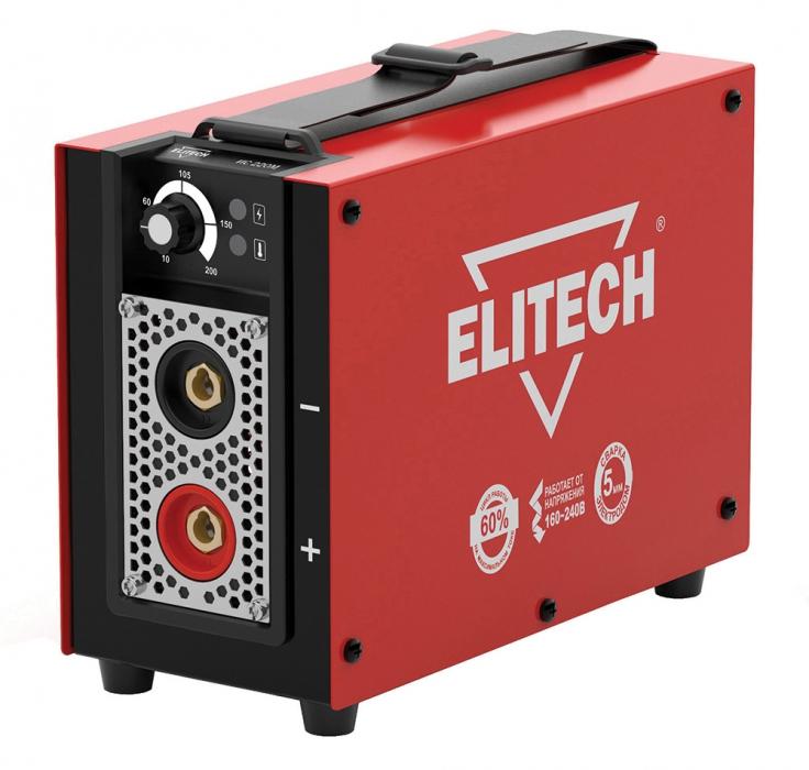 Сварочный аппарат ElitechСварочное оборудование<br>Макс. сварочный ток: 200,<br>Мощность: 4600,<br>Мощность полная: 4600,<br>Напряжение: 220,<br>Мин. входное напряжение: 160,<br>Выходной ток: 10-200,<br>Напряжение холостого хода: 85,<br>Мин. диаметр электрода: 1.6,<br>Макс. диаметр электрода: 5,<br>Тип сварочного аппарата: инверторный,<br>Тип сварки: дуговая (электродом, MMA),<br>Инверторная технология: есть,<br>Размеры: 248x112x194,<br>Степень защиты от пыли и влаги: IP 21S,<br>Класс: бытовой,<br>Режим работы ПН %: 60<br>