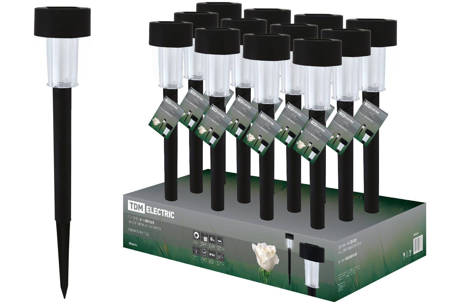 Светильник уличный ТДМСветильники на солнечных батареях<br>Мощность: 0.6,<br>Тип установки: грунтовый,<br>Форма светильника: столбики,фонари,шарики,<br>Материал светильника: пластик,<br>Количество ламп: 1,<br>Тип лампы: светодиодная,<br>Патрон: LED,<br>Степень защиты от пыли и влаги: IP 44,<br>Солнечная батарея: есть,<br>Диаметр: 60,<br>Высота: 360<br>