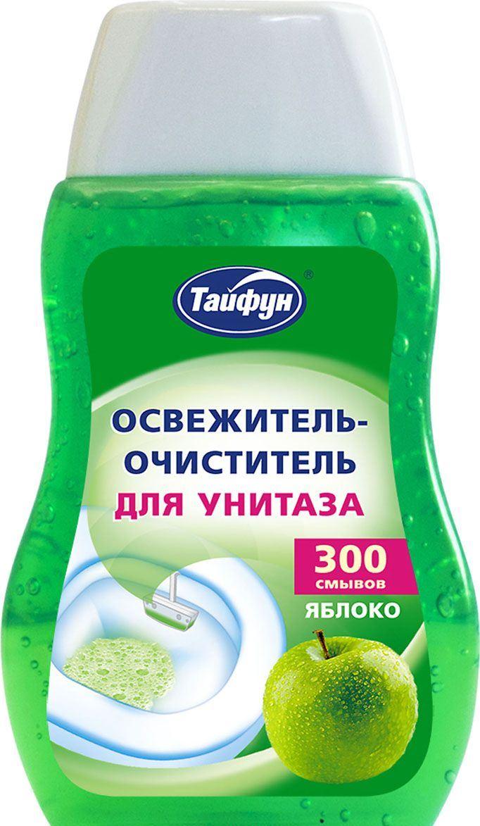 Освежитель-очиститель ТАЙФУНМоющие и чистящие средства<br>Назначение: для унитазов,<br>Тип: освежитель-очиститель,<br>Объем (мл): 0.2,<br>Аромат: яблоко,<br>Вес нетто: 0.2<br>