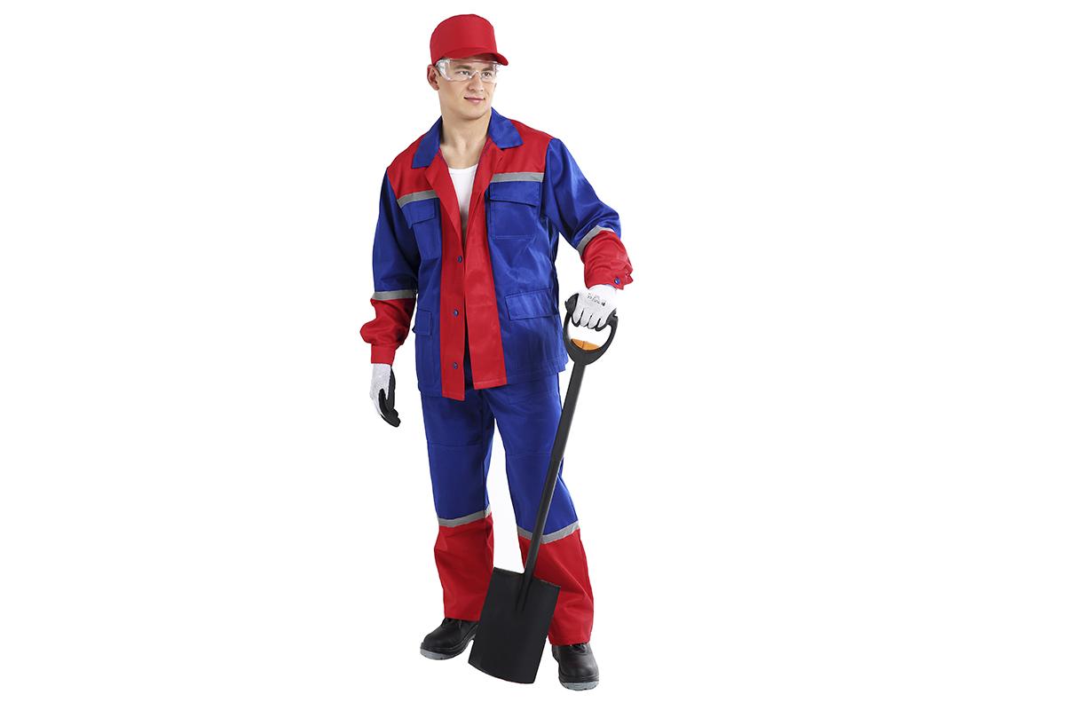 Костюм AmparoКостюмы<br>Тип: куртка и брюки,<br>Размер: 52-54/170-176,<br>Пол: мужской,<br>Сезон: демисезон,<br>Материал: ткань смесовая,<br>Плотность ткани: 220,<br>Цвет костюма: васильковый, красный,<br>Светоотражающие вставки: есть<br>