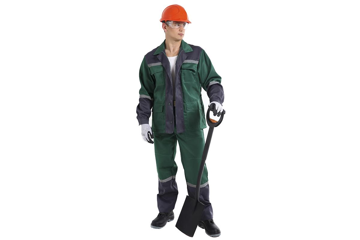Костюм AmparoКостюмы<br>Тип: куртка и брюки,<br>Размер: 60-62/182-188,<br>Пол: мужской,<br>Сезон: демисезон,<br>Материал: ткань смесовая,<br>Плотность ткани: 220,<br>Цвет костюма: зеленый, серый,<br>Светоотражающие вставки: есть<br>