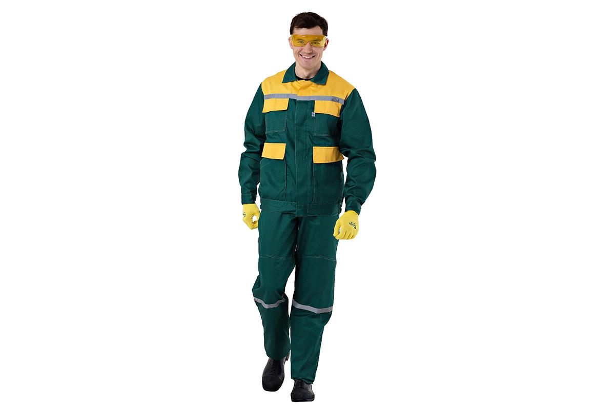 Костюм AmparoКостюмы<br>Тип: куртка с полукомбинезоном,<br>Размер: 52-54/170-176,<br>Пол: мужской,<br>Сезон: демисезон,<br>Материал: ткань смесовая,<br>Плотность ткани: 250,<br>Цвет костюма: зеленый, желтый,<br>Светоотражающие вставки: есть<br>