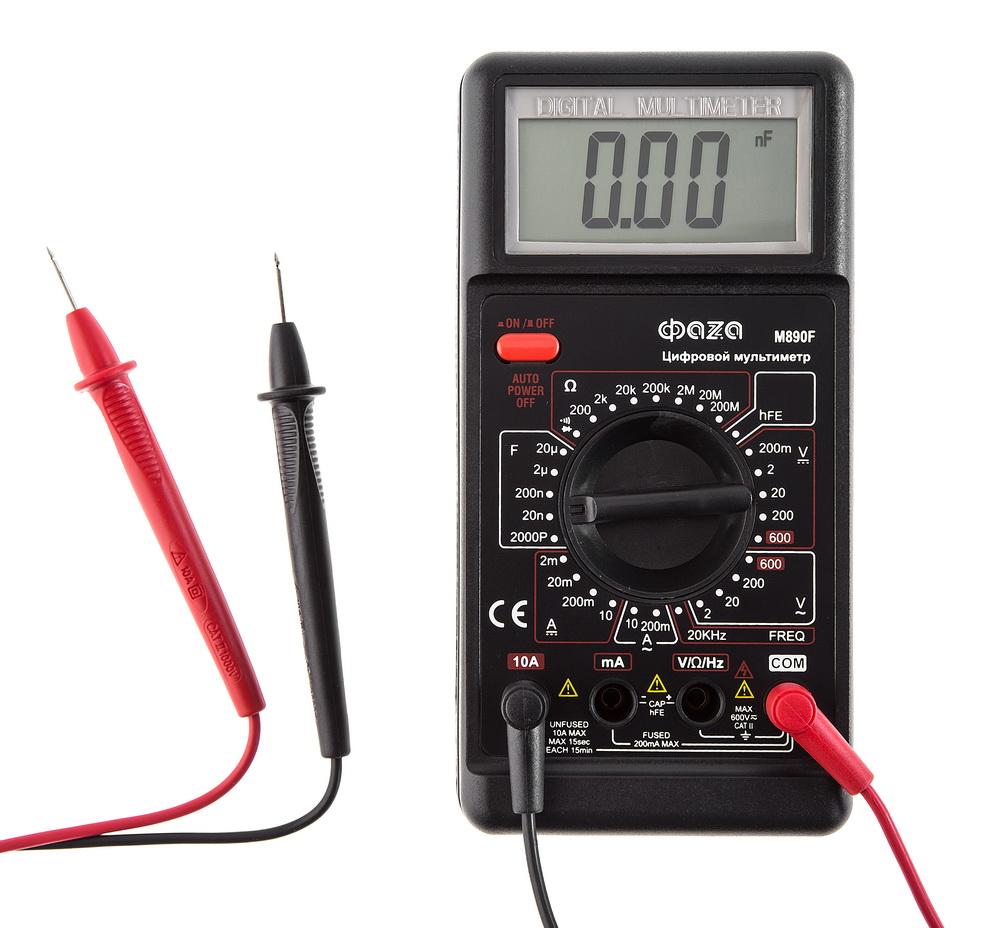 Мультиметр ФАzАМультиметры (тестеры)<br>Тип: мультиметр,<br>Класс: полупроф.,<br>Дисплей: цифровой,<br>Измерение напряжения (постоянного/переменного): есть,<br>Измерение сопротивления: есть,<br>Измерение постоянного тока: есть,<br>Измерение переменного тока: есть,<br>Измерение частоты: есть,<br>Измерение емкости: есть,<br>Источники питания: CR-9V<br>