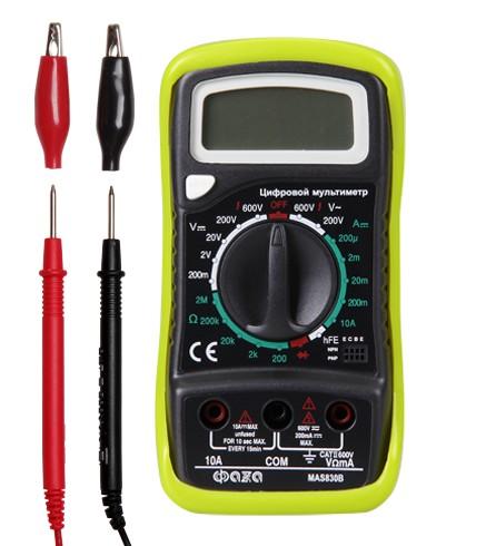 Мультиметр ФАzАМультиметры (тестеры)<br>Тип: мультиметр, Класс: полупроф., Дисплей: цифровой, Измерение напряжения (постоянного/переменного): есть, Измерение сопротивления: есть, Измерение постоянного тока: есть, Источники питания: CR-9V<br>