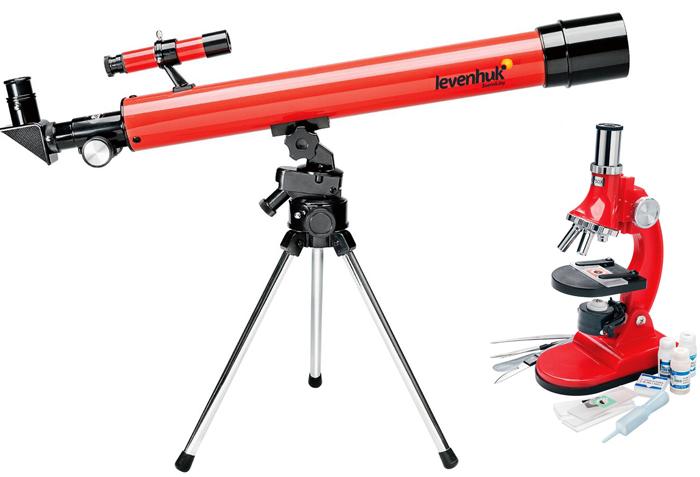 Набор LevenhukТелескопы<br>Тип телескопа: рефрактор,<br>Увеличение: 75-900,<br>Фокусное расстояние: 600,<br>Диаметр объектива: 50,<br>Тип управления телескопом: ручной,<br>Предмет наблюдения: планеты Солнечной системы,<br>Тренога: алюминиевая<br>