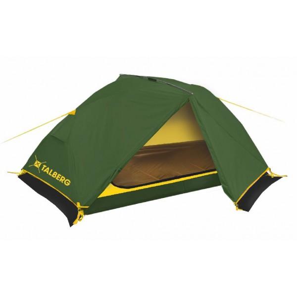 Палатка TalbergПалатки<br>Тип палатки: трекинговый,<br>Назначение палатки: охота,<br>Количество мест: 2,<br>Количество комнат: 1,<br>Количество входов: 2,<br>Форма палатки: купол,<br>Сезон: 3 сезона,<br>Размеры: 2300х2450х1050,<br>Длина (мм): 2300,<br>Ширина: 2450,<br>Высота: 1050,<br>Тамбур: есть,<br>Количество слоев тента: 2,<br>Родина бренда: Германия,<br>Дно палатки: есть,<br>Материал: полиэстер,<br>Цвет: зелёный,<br>Вес нетто: 2.8<br>