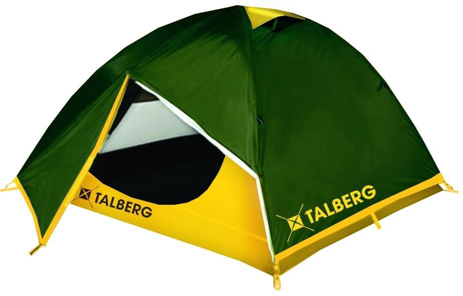 Палатка TalbergПалатки<br>Тип палатки: трекинговый,<br>Назначение палатки: охота,<br>Количество мест: 2,<br>Количество комнат: 1,<br>Количество входов: 2,<br>Форма палатки: купол,<br>Сезон: 3 сезона,<br>Размеры: 2900x2200x1200,<br>Длина (мм): 2900,<br>Ширина: 2200,<br>Высота: 1200,<br>Тамбур: есть,<br>Количество слоев тента: 2,<br>Родина бренда: Германия,<br>Дно палатки: есть,<br>Материал: полиэстер,<br>Цвет: зелёный,<br>Вес нетто: 3.5<br>