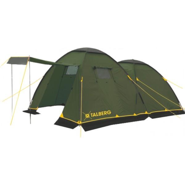 Палатка TalbergПалатки<br>Тип палатки: кемпинговый,<br>Назначение палатки: туризм,<br>Количество мест: 4,<br>Количество комнат: 1,<br>Количество входов: 2,<br>Форма палатки: купол,<br>Сезон: 3 сезона,<br>Размеры: 4500x2500x1900,<br>Длина (мм): 4500,<br>Ширина: 2500,<br>Высота: 1900,<br>Тамбур: есть,<br>Количество слоев тента: 1,<br>Родина бренда: Германия,<br>Дно палатки: есть,<br>Материал: полиэстер,<br>Цвет: зеленый,<br>Вес нетто: 10<br>