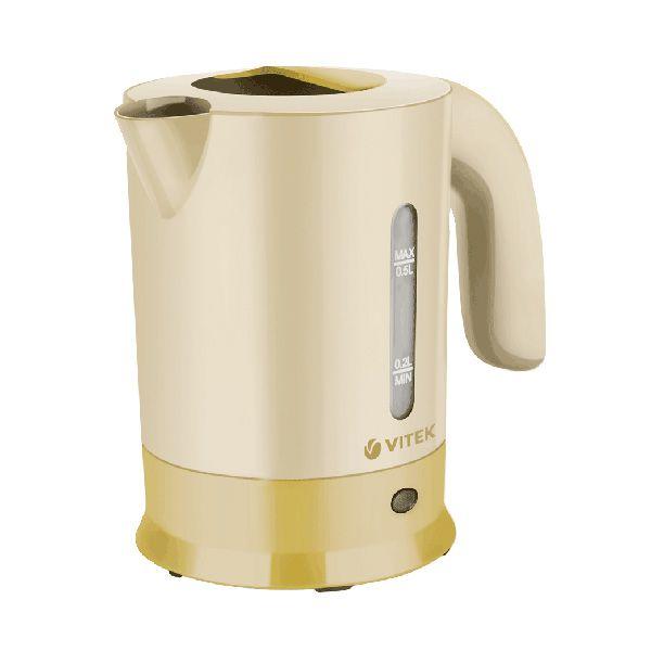 Чайник VitekЧайники и термопоты<br>Тип: электрочайник,<br>Мощность: 650,<br>Объем: 0.5,<br>Цвет: желтый,<br>Нагревательный элемент: дисковый,<br>Материал: пластик,<br>Дорожный: есть,<br>Вес нетто: 0.8<br>