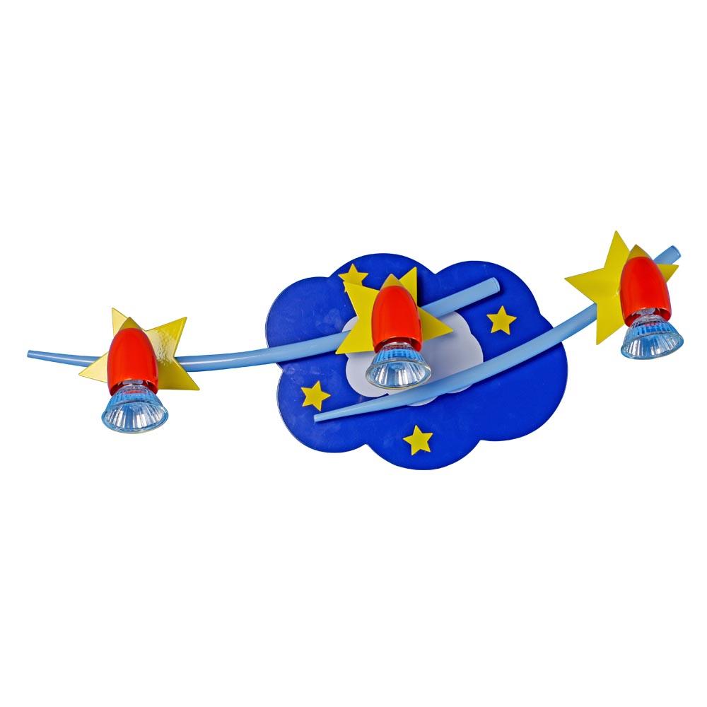Бра МАКСИСВЕТНастенные светильники и бра<br>Тип: настенный,<br>Назначение светильника: для детской комнаты,<br>Стиль светильника: современный,<br>Материал светильника: пластик,<br>Тип лампы: галогенная,<br>Количество ламп: 3,<br>Мощность: 50,<br>Патрон: GU10,<br>Цвет арматуры: цветной<br>