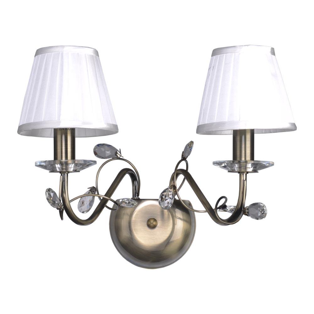 Бра МАКСИСВЕТНастенные светильники и бра<br>Тип: бра,<br>Назначение светильника: для комнаты,<br>Стиль светильника: классика,<br>Материал светильника: металл, стекло,<br>Тип лампы: накаливания,<br>Количество ламп: 2,<br>Мощность: 40,<br>Патрон: Е14,<br>Цвет арматуры: бронза<br>