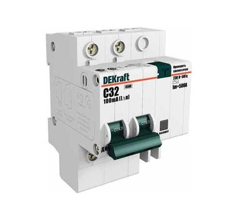 Выключатель DekraftАвтоматические выключатели<br>Номинальный ток: 10,<br>Тип выключателя: дифавтомат,<br>Количество полюсов: 2,<br>Номинальная отключающая способность: 4500,<br>Номинальный отключающий дифференциальный ток: 30,<br>Степень защиты от пыли и влаги: IP 20,<br>Количество модулей: 2<br>