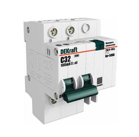 Выключатель DekraftАвтоматические выключатели<br>Номинальный ток: 50,<br>Тип выключателя: дифавтомат,<br>Количество полюсов: 2,<br>Номинальная отключающая способность: 4500,<br>Номинальный отключающий дифференциальный ток: 30,<br>Степень защиты от пыли и влаги: IP 20,<br>Количество модулей: 2<br>