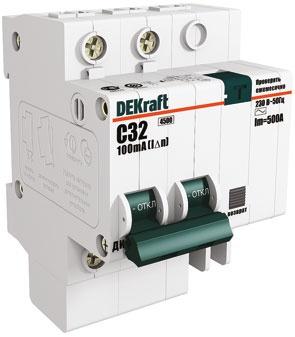 Выключатель DekraftАвтоматические выключатели<br>Номинальный ток: 60, Тип выключателя: дифавтомат, Количество полюсов: 2, Номинальная отключающая способность: 4500, Номинальный отключающий дифференциальный ток: 30, Степень защиты от пыли и влаги: IP 20, Количество модулей: 2<br>