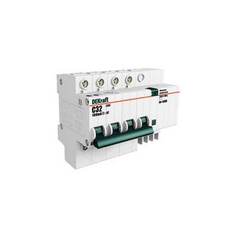 Выключатель DekraftАвтоматические выключатели<br>Номинальный ток: 50,<br>Тип выключателя: дифавтомат,<br>Количество полюсов: 4,<br>Номинальная отключающая способность: 4500,<br>Номинальный отключающий дифференциальный ток: 30,<br>Степень защиты от пыли и влаги: IP 20,<br>Количество модулей: 4<br>