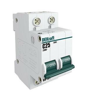 Выключатель DekraftАвтоматические выключатели<br>Номинальный ток: 6, Тип выключателя: автомат, Количество полюсов: 1, Номинальная отключающая способность: 4500, Степень защиты от пыли и влаги: IP 20, Количество модулей: 1<br>