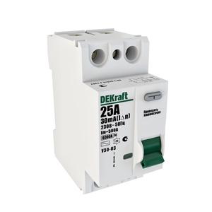 Выключатель DekraftАвтоматические выключатели<br>Номинальный ток: 63,<br>Тип выключателя: дифавтомат,<br>Количество полюсов: 2,<br>Номинальная отключающая способность: 6000,<br>Номинальный отключающий дифференциальный ток: 30,<br>Степень защиты от пыли и влаги: IP 20,<br>Количество модулей: 2<br>