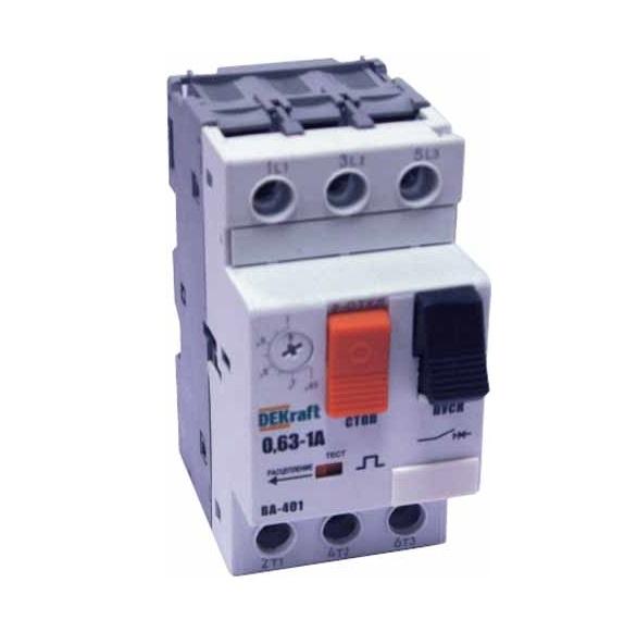 Выключатель DekraftАвтоматические выключатели<br>Номинальный ток: 4, Тип выключателя: расцепитель, Количество полюсов: 3, Номинальная отключающая способность: 50000, Степень защиты от пыли и влаги: IP 20<br>