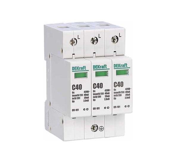 Ограничитель DekraftАвтоматические выключатели<br>Номинальный ток: 40,<br>Тип выключателя: ограничитель перенапряжений,<br>Количество полюсов: 3,<br>Степень защиты от пыли и влаги: IP 20<br>