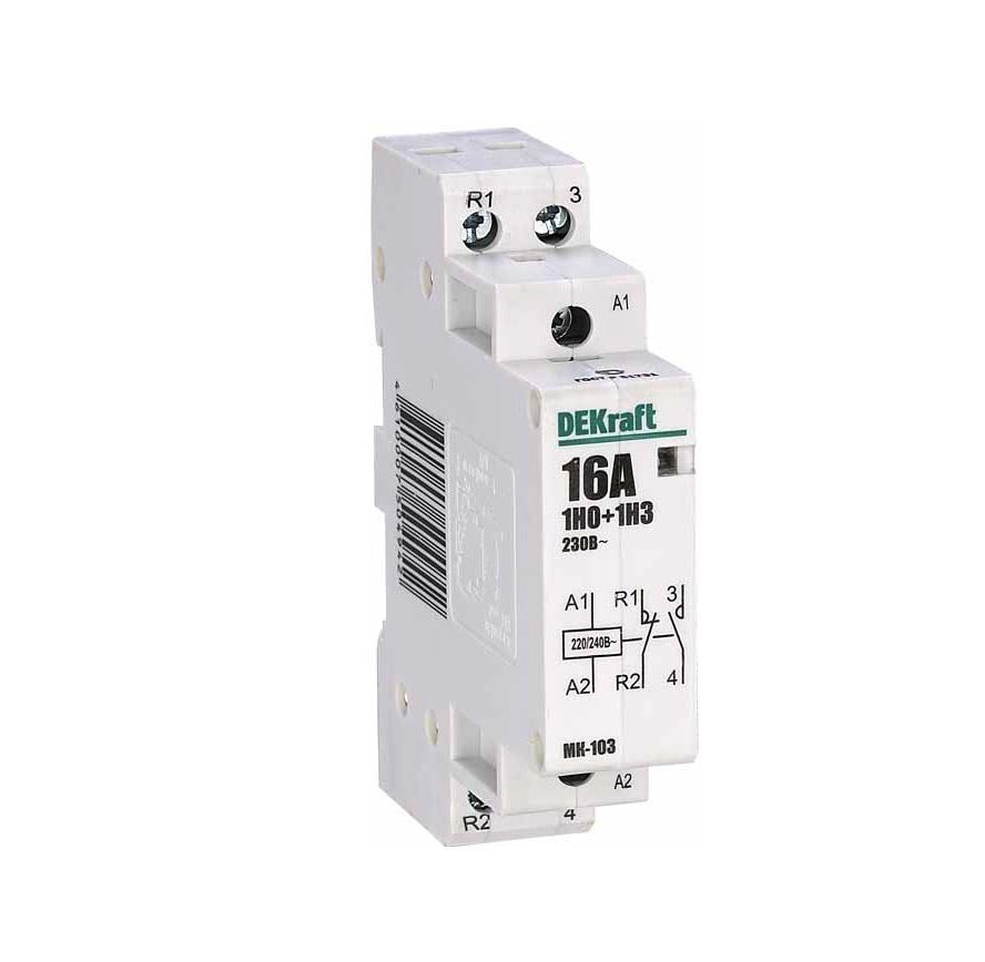 Контактор DekraftАвтоматические выключатели<br>Номинальный ток: 25, Тип выключателя: контактор, Количество полюсов: 1, Степень защиты от пыли и влаги: IP 20<br>