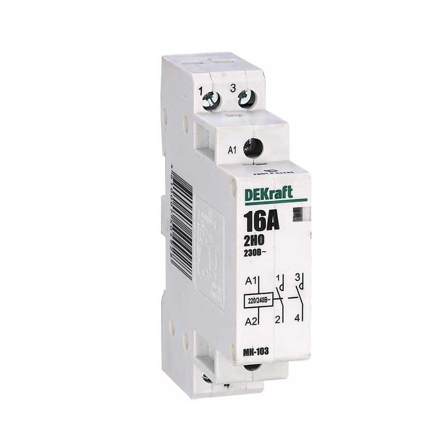 Контактор DekraftАвтоматические выключатели<br>Номинальный ток: 16,<br>Тип выключателя: контактор,<br>Количество полюсов: 1,<br>Степень защиты от пыли и влаги: IP 20<br>