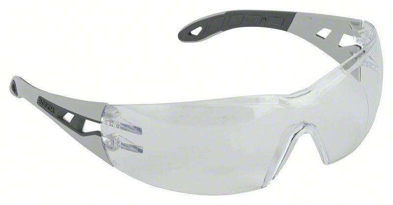 Очки защитные BoschЗащитные очки<br>Тип очков: открытые, Цвет: серый, Защита от мелких частиц: есть<br>