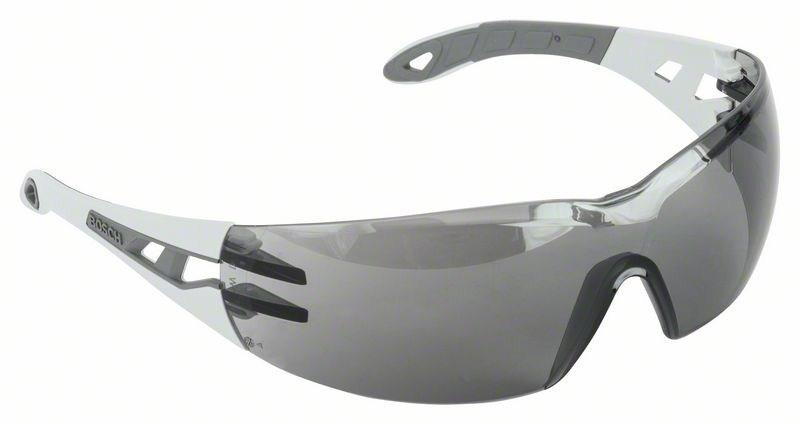 Очки защитные BoschЗащитные очки<br>Тип очков: открытые,<br>Цвет: серый,<br>Защита от мелких частиц: есть<br>