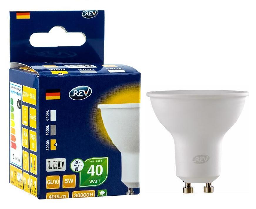 Лампа светодиодная Rev ritterЛампы<br>Тип лампы: светодиодная,<br>Форма лампы: рефлекторная,<br>Цвет колбы: матовая,<br>Тип цоколя: GU10,<br>Напряжение: 220,<br>Мощность: 5,<br>Цветовая температура: 3000,<br>Цвет свечения: нейтральный<br>