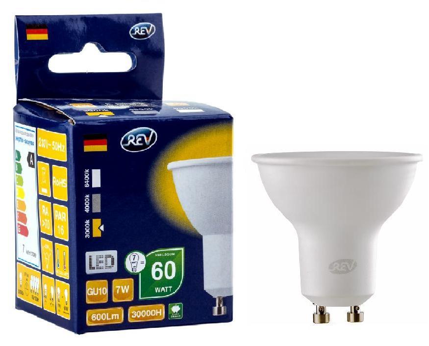 Лампа светодиодная Rev ritterЛампы<br>Тип лампы: светодиодная,<br>Форма лампы: рефлекторная,<br>Цвет колбы: матовая,<br>Тип цоколя: GU10,<br>Напряжение: 220,<br>Мощность: 7,<br>Цветовая температура: 3000,<br>Цвет свечения: нейтральный<br>