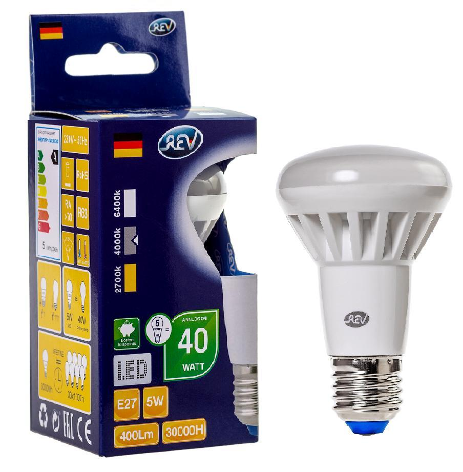 Лампа светодиодная Rev ritterЛампы<br>Тип лампы: светодиодная,<br>Форма лампы: груша,<br>Цвет колбы: матовая,<br>Тип цоколя: Е27,<br>Напряжение: 220,<br>Мощность: 5,<br>Цветовая температура: 4000,<br>Цвет свечения: холодный<br>