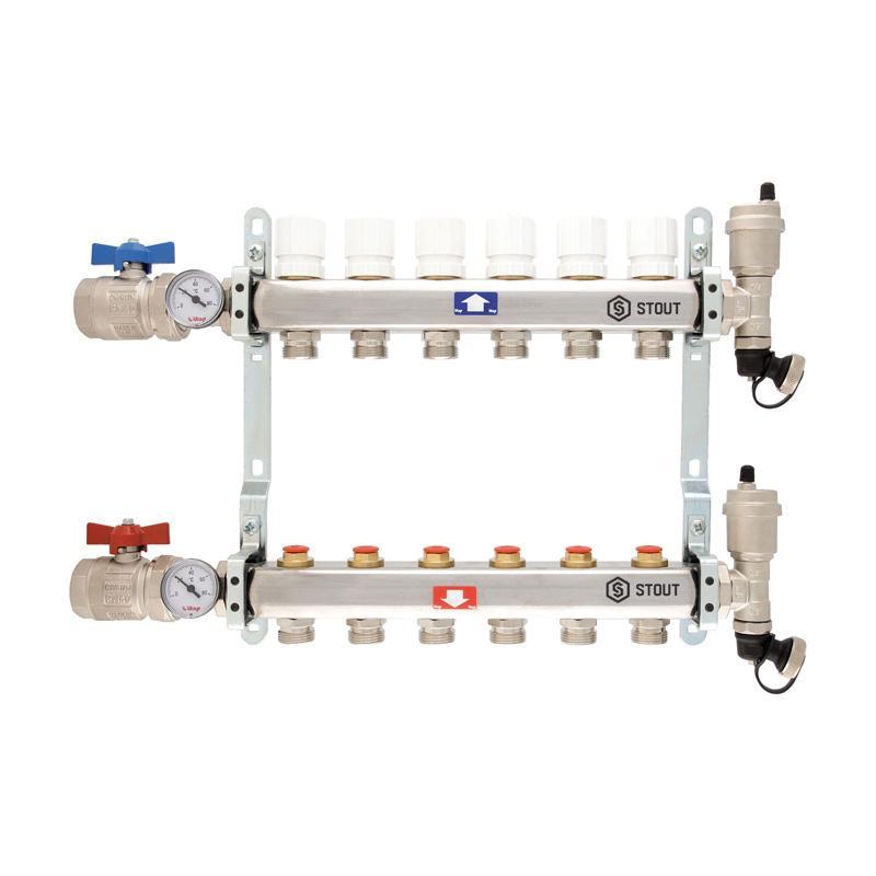 Коллектор StoutКоллекторы для труб<br>Тип трубного соединения: резьба,<br>Присоединительный размер: 3/4<br>
