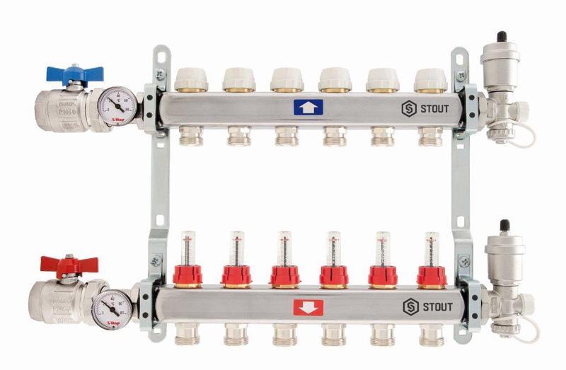 Коллектор StoutКоллекторы для труб<br>Материал фитинга: сталь, Тип трубного соединения: резьба, Присоединительный размер: 3/4<br>