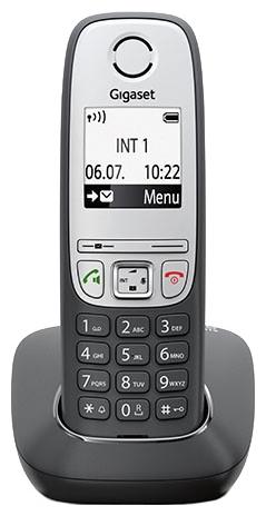 Радиотелефон GigasetРадиотелефоны<br>Комплектация: база, трубка,<br>Частота: 1880-1900,<br>Радиус действия: 50,<br>Время работы в режиме ожидания: 200,<br>Время работы в режиме разговора: 18,<br>Телефонная книга: 50,<br>Громкая связь: есть,<br>Конференц-связь: есть,<br>Крепление на стену: есть,<br>Количество мелодий: 20,<br>Тип батарейки/аккумулятора: AAA(LR3),<br>Тип аккумулятора: NiMH,<br>Будильник: есть<br>