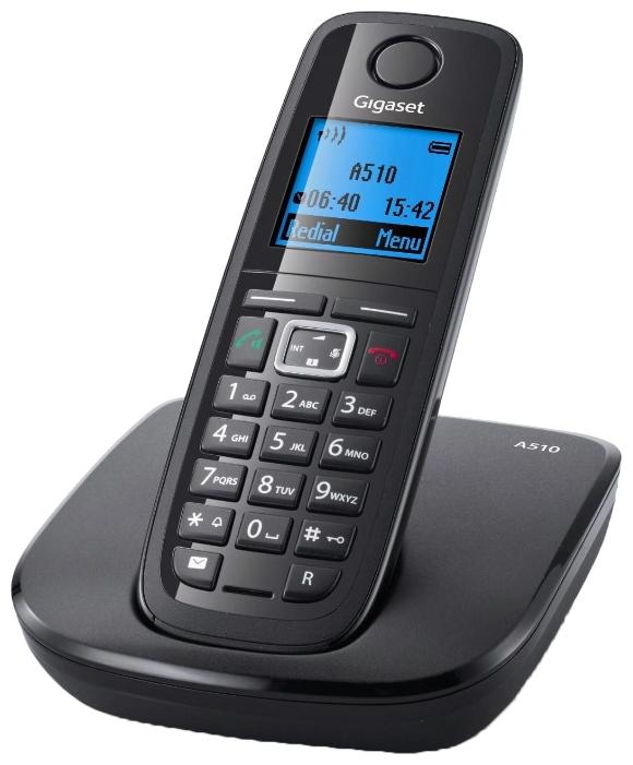 Радиотелефон GigasetРадиотелефоны<br>Комплектация: база, трубка, voip,<br>Частота: 1880-1900,<br>Радиус действия: 50,<br>Время работы в режиме ожидания: 290,<br>Время работы в режиме разговора: 23,<br>Телефонная книга: 150,<br>Громкая связь: есть,<br>Конференц-связь: есть,<br>АОН: есть,<br>Крепление на стену: есть,<br>Тип батарейки/аккумулятора: AAA(LR3),<br>Тип аккумулятора: NiMH,<br>Будильник: есть<br>