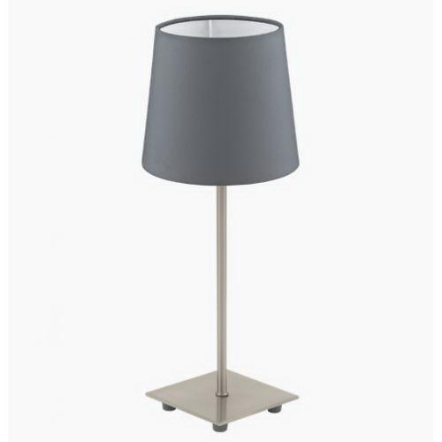 Лампа настольная EgloЛампы настольные<br>Тип настольной лампы: декоративная,<br>Назначение светильника: для комнаты,<br>Стиль светильника: классика,<br>Материал светильника: металл, ткань,<br>Диаметр: 155,<br>Высота: 395,<br>Количество ламп: 1,<br>Тип лампы: накаливания,<br>Мощность: 40,<br>Патрон: Е14,<br>Цвет арматуры: никель,<br>Вес нетто: 0.533<br>