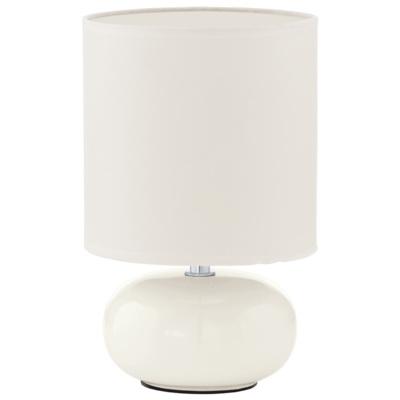 Лампа настольная EgloЛампы настольные<br>Тип настольной лампы: декоративная,<br>Назначение светильника: для комнаты,<br>Стиль светильника: классика,<br>Материал светильника: металл, ткань,<br>Диаметр: 150,<br>Высота: 270,<br>Количество ламп: 1,<br>Тип лампы: накаливания,<br>Мощность: 40,<br>Патрон: Е14,<br>Цвет арматуры: белый,<br>Вес нетто: 0.469<br>