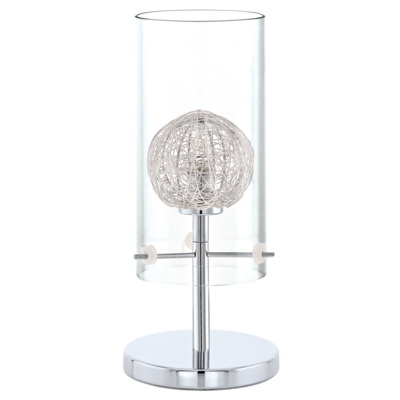 Лампа настольная EgloЛампы настольные<br>Тип настольной лампы: декоративная,<br>Назначение светильника: для комнаты,<br>Стиль светильника: модерн,<br>Материал светильника: металл, стекло,<br>Диаметр: 120,<br>Высота: 275,<br>Количество ламп: 1,<br>Тип лампы: галогенная,<br>Мощность: 33,<br>Патрон: G9,<br>Цвет арматуры: хром,<br>Вес нетто: 0.665<br>