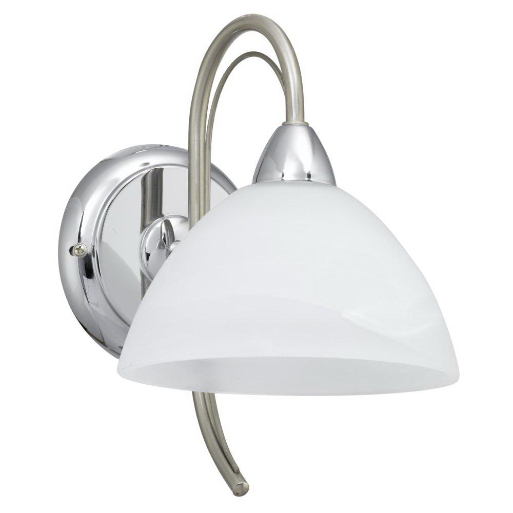 Бра EgloНастенные светильники и бра<br>Тип: бра, Назначение светильника: для комнаты, Стиль светильника: классика, Материал светильника: металл, стекло, Тип лампы: накаливания, Количество ламп: 1, Мощность: 40, Патрон: Е14, Цвет арматуры: никель, Длина (мм): 170, Ширина: 245, Вес нетто: 0.689<br>