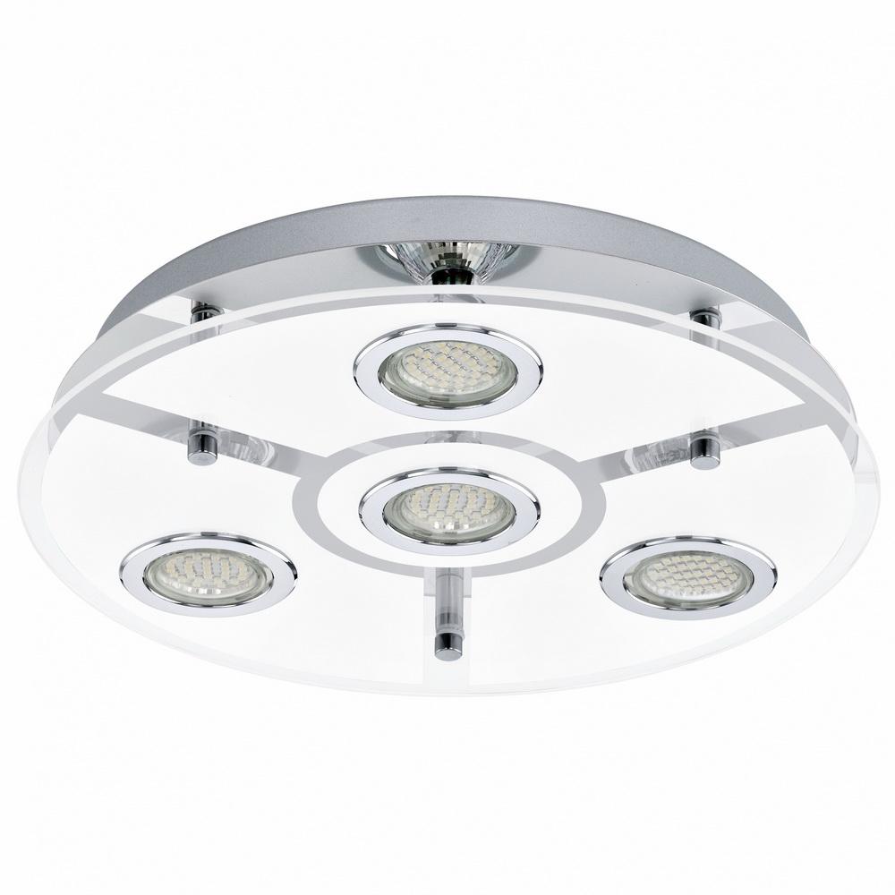 Светильник настенно-потолочный EgloСветильники настенно-потолочные<br>Мощность: 3, Количество ламп: 4, Назначение светильника: для комнаты, Стиль светильника: хай-тек, Материал светильника: металл, стекло, Тип лампы: галогенные и светодиодные, Длина (мм): 75, Диаметр: 350, Патрон: GU10, LED, Цвет арматуры: хром, Степень защиты от пыли и влаги: IP 20, Вес нетто: 2.353<br>