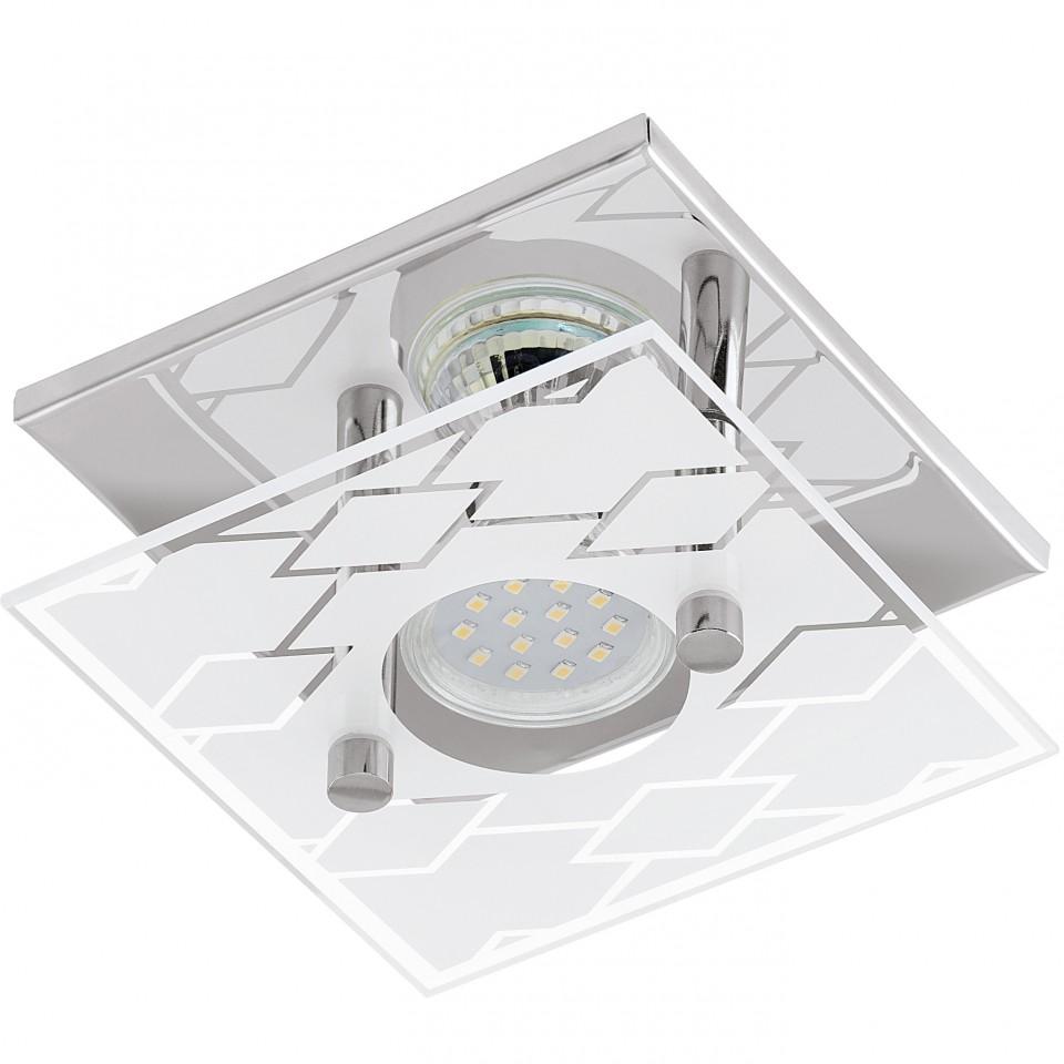 Светильник настенно-потолочный EgloСветильники настенно-потолочные<br>Мощность: 3,<br>Количество ламп: 1,<br>Назначение светильника: для комнаты,<br>Стиль светильника: этнический,<br>Материал светильника: металл, стекло,<br>Тип лампы: галогенные и светодиодные,<br>Длина (мм): 135,<br>Ширина: 135,<br>Высота: 85,<br>Патрон: GU10, LED,<br>Цвет арматуры: хром,<br>Степень защиты от пыли и влаги: IP 20,<br>Вес нетто: 0.598<br>